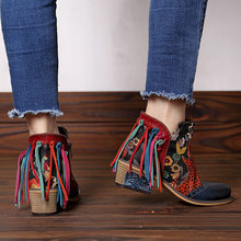 Genuine Leather tassel Boots Women Vintage Bohemian Ankle Boots Spring Autumn National Fringe Flower Shoes Low Heel Ladies Shoes(China)