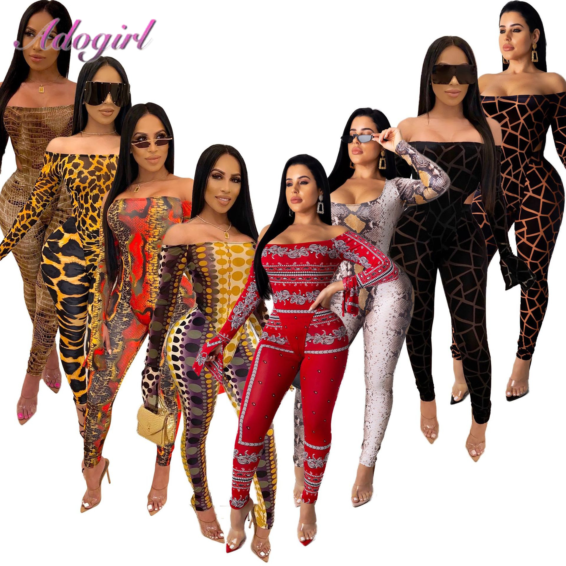 Sexy Two Piece Set Women Night Party Off Shoulder Long Sleeve Bodysuit Skinny Pencil Pants Suit Matching Set Outfit Tracksuit