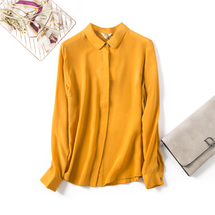 Yellow Round Neck Long-Sleeved Shirt Women Women's Blouses Women's Clothings Color: Ginger Size: S