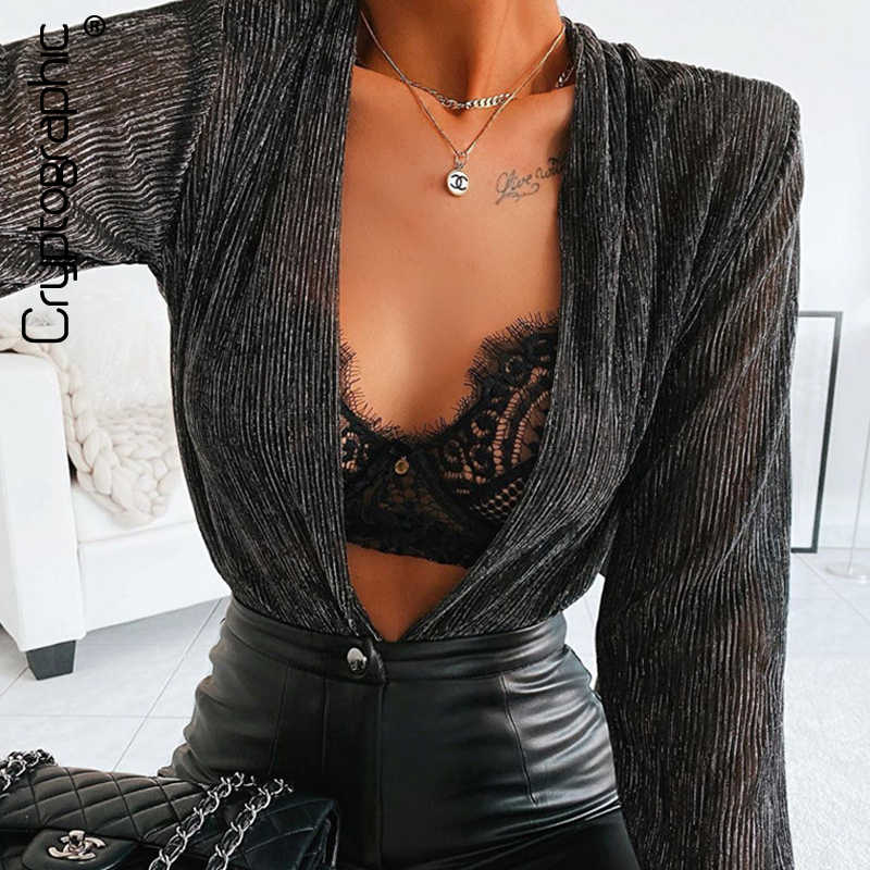 Cryptographic Plunge V Neckline Sexy Glittler Bodysuit Women Elegant 2020 Spring Party Club Long Sleeve Female Body Suit Tops