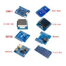 Esp8266 D1 Mini Pro Wifi Nodemcu щит регистратора данных Ds1307 батарея 0,66 Oled Dc мощность зуммер V1.0.0 двойная база для Wemos Diy Kit