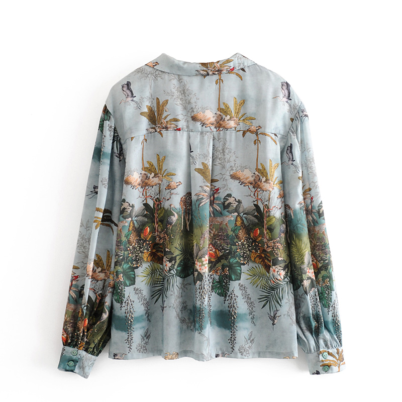 Aachoae Women Casual Floral Print Satin Blouse Casual Loose Tops Ladies Turn Down Collar Lantern Long Sleeve Vintage Shirt Blusa 1