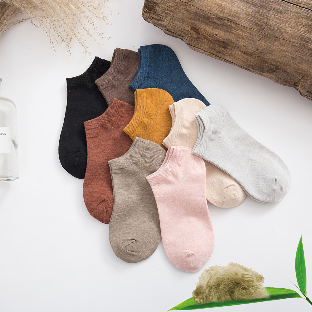 New Summer Women's Bamboo Fiber Casual Shallow Mouth Boat Socks Fashion Solid Color Casual Thin Breathable Cotton Socks 10 Pair