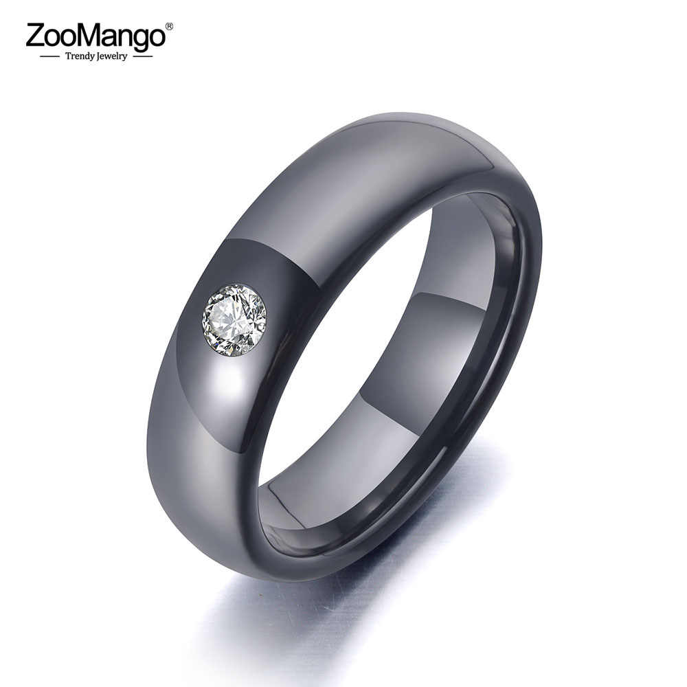 ZooMango Trendy Office Style Black Ceramic Crystal Wedding Ring Jewelry For Women Stainless Steel Rhinestone Girls' Ring ZR19070