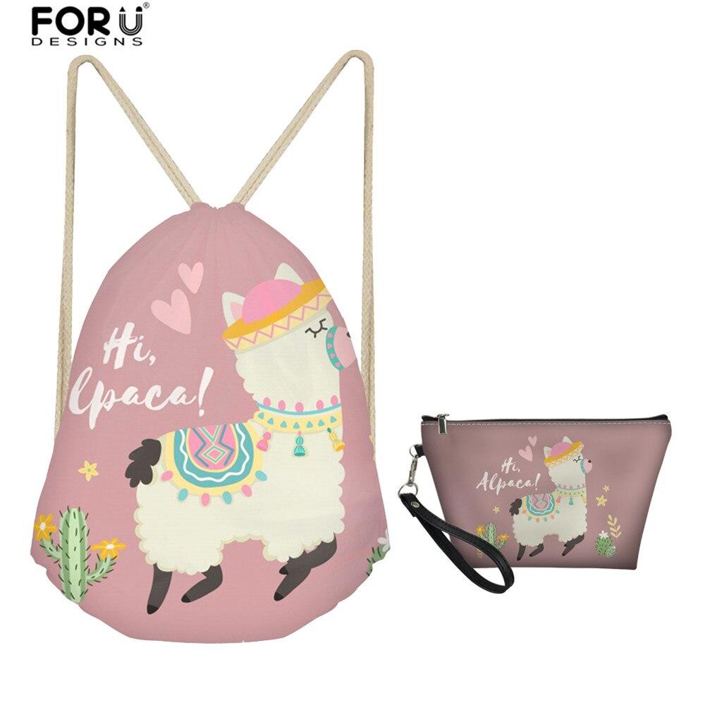 FORUDESIGNS Casual Backpacks 2 Piece Drawstring Bag With Toiletry Handbag Cute Alpaca Print Girls Travel Shoulder Pack Handbags
