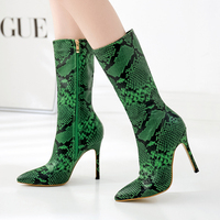 Fashion Tie Boots, Serpentine Printing and Ankle Boots, High heeled Shoes, Fashion Tip Ladies, Sexy Fashion, New Chelsea Boots