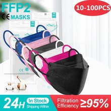 10-100 шт. Mascarillas ffp2 Цвет маска для взрослых fpp2 certificadas Испании многоразовые Fish защитная маска для лица KN95 mascherine ffpp2