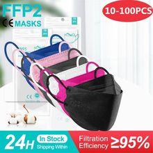 10-100 pces mascarillas ffp2 cor adulto máscara fpp2 certificadas españa peixes reutilizáveis máscara protetora kn95 mascherine ffpp2