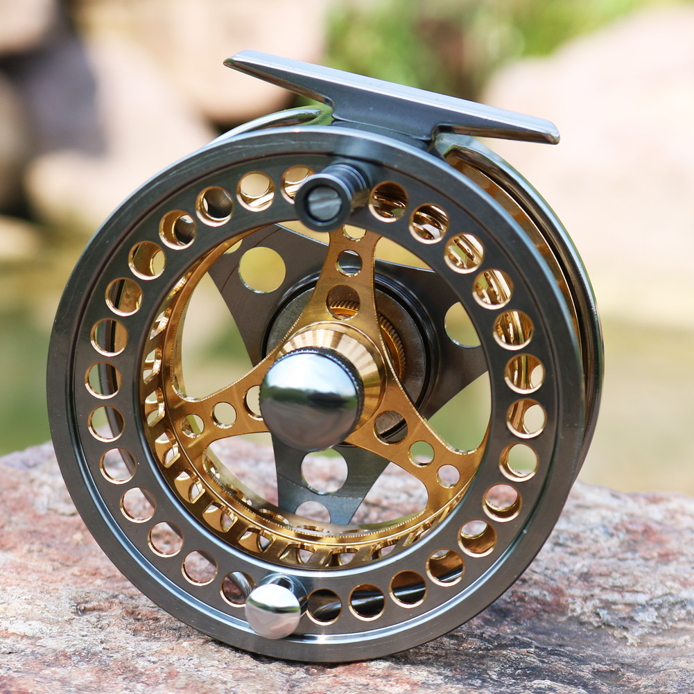 Sougayilang Large Arbor Fly Fishing Reel 2+1 BB High Die Casting Aluminium Alloy Spool Fly Reels Fishing Tackle 19