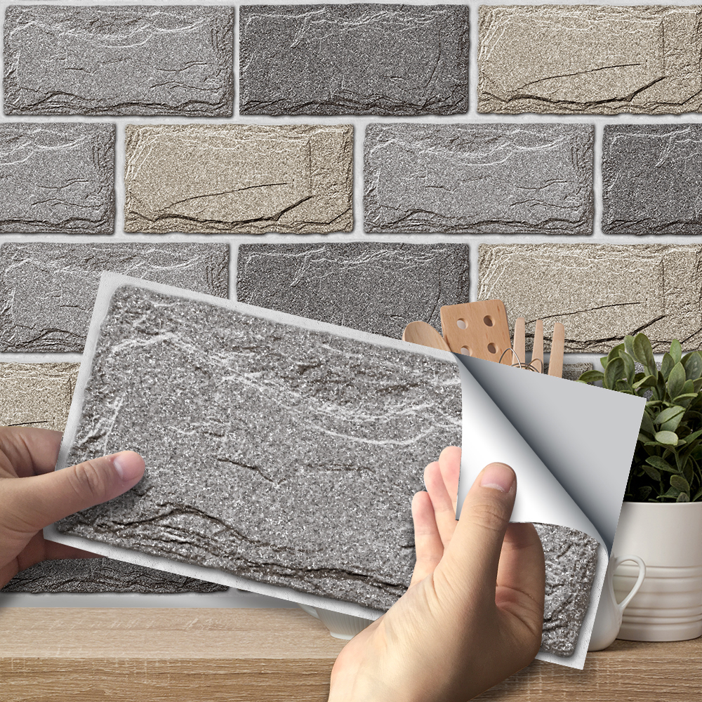 Stone Texture Wall Stickers Retro Oil-proof Waterproof Tile Sticker For Kitchen Bathroom Ground Wall House Decoration