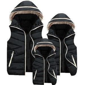Image 4 - Eltern Kind Passenden Outfits Mit Kapuze Kind Weste Baumwolle Baby Mädchen Jungen Weste Kinder Jacke Kinder Oberbekleidung Für 100 180cm