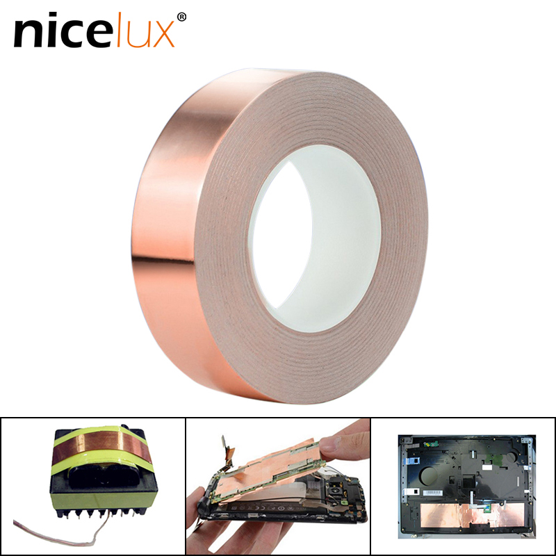 10meter Adhesive Conductive Copper Foil Tape 8/20/30/50mm Shield Eliminate EMI Anti-static Single-sided Repair Tape Thick0.06mm