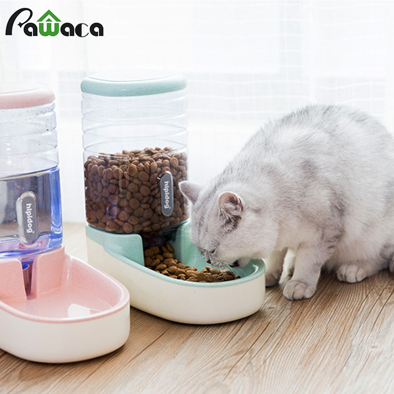 3.8L Pet Cat Automatic Feeders Plastic Dog Water Bottle Large Capacity Food Water Dispenser Cats Dogs Feeding Bowls Drinker
