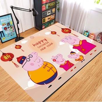 Peppa Pig Anti-slip Flannel Mat Peppa Door Mat Kid Room 3D Cartoon Floor Mat Washable Kitchen Bathroom Carpet Christmas Gift 2
