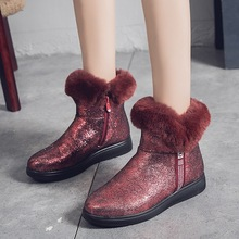 Hot Winter Boots Women Sequined Cloth Snow Ankle Flats Fashion Casual Shoes Woman Plush Warm Zip Non-slip Cotton