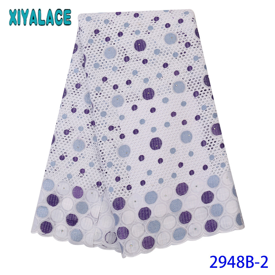 Nigerian Lace Fabrics High Quality,2019 Latest Swiss Voile Lace Cotton,Hollow Out Swiss Voile Lace With Stones KS2948B-2