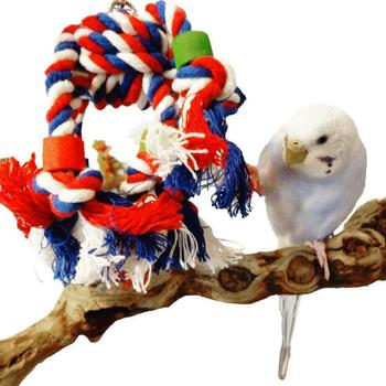 Colorful Parrot Soft Rope Jumble Chew Bird Toy Durable Parrot Cage Toys Cages Chew Pet Stand Training Accessories image
