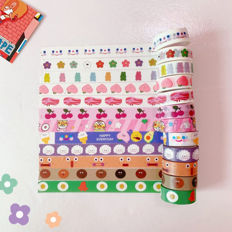 1 Pcs Cloud Flower Smile Bear Cherry Washi Tape DIY Planner Masking Tape Adhesive Tapes Stickers Decorative Stationery Tapes