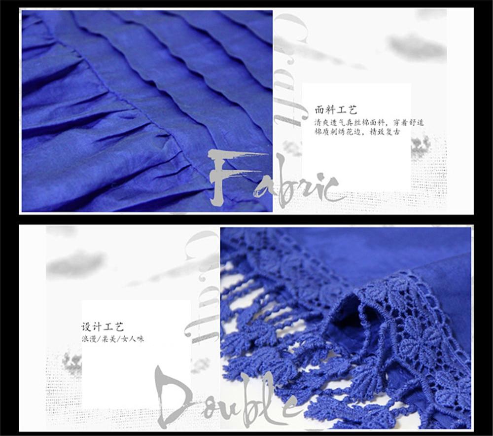 Vintage Women Slik Tassel Blouse 2019 Autumn Silk Women's Blouse Shirts Cotton Pullover Blouses Solid Dark Blue Top B9225 (2)