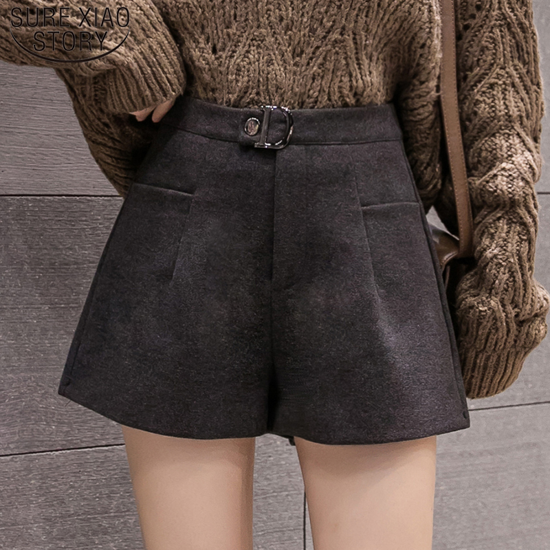 Elegant Leather Shorts Fashion High Waist Shorts Girls A-line  Bottoms Wide-legged Shorts Autumn Winter Women 6312 50 32