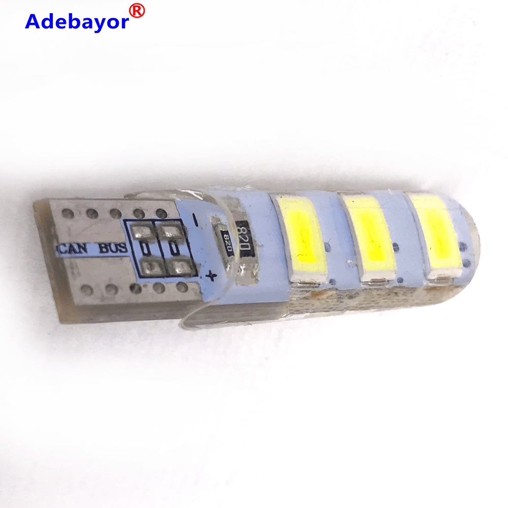 200pcs Wholesale <font><b>T10</b></font> Silicone Case 6 SMD 5630 <font><b>LED</b></font> Car Dome Light W5W 194 6LED 6SMD 5730 <font><b>LED</b></font> Wedge Lamp Parking Bulb 12V <font><b>100X</b></font> image
