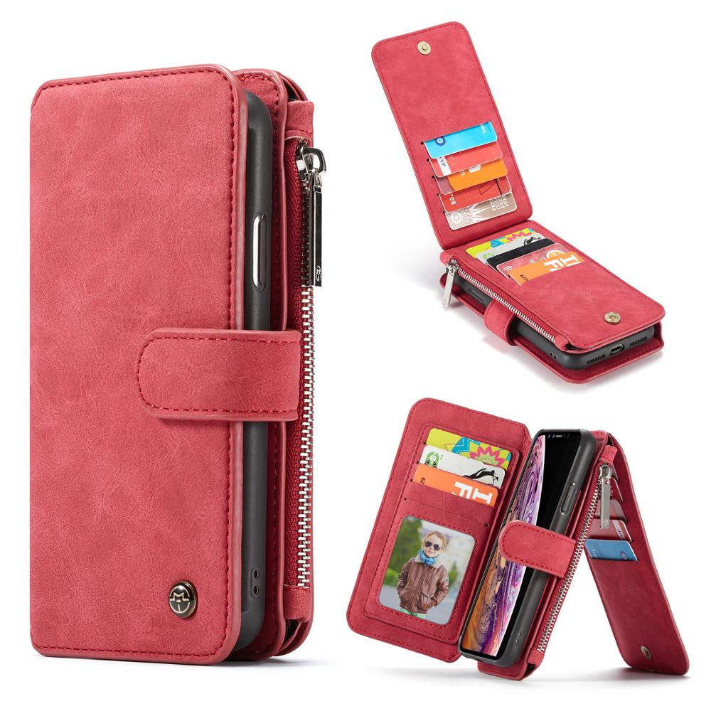 Case Me For iPhone X XR XS Max Multifunction Stand Leather Soft TPU Magnetic Flip Zipper Wallet Slot For iPhone 8 7 6 Plus 6S