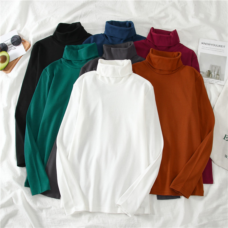 Harajuku Elasticity Women T-shirt Basic T-shirts Bottoming Tee Tops Autumn New Solid Turtle Neck Long Sleeve Slim Femme T Shirt