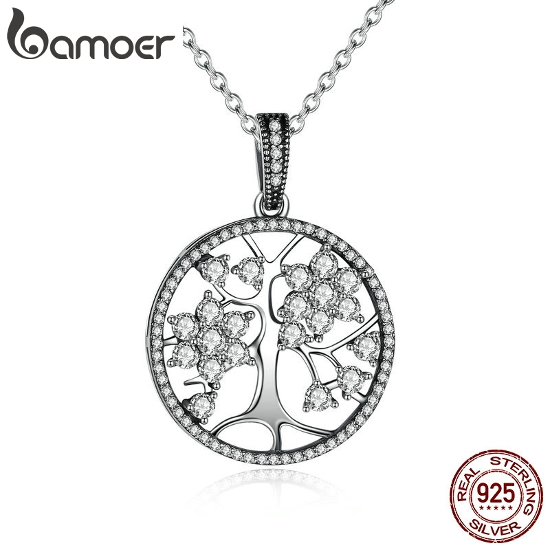 BAMOER Classic 925 Sterling Silver Tree Of Life Round Pendant Necklaces For Women Fine Jewelry Valentine's Day GIFT PSN013