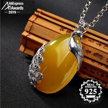 S925 Sterling Silver Israel Amber Artisan Phenix peacock Baltic Pendants health rich lithuania Chalcedony Yellow