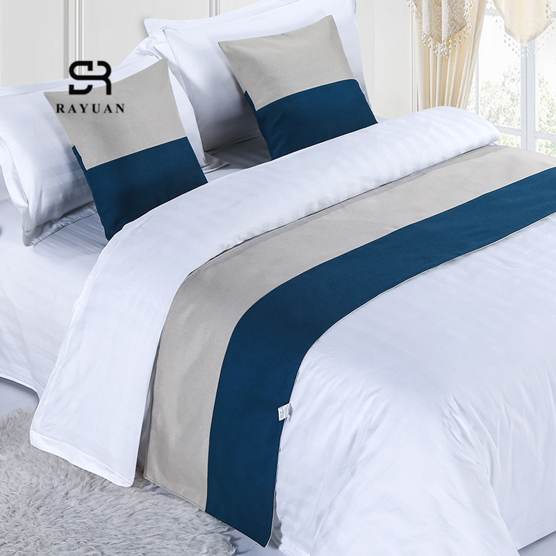 RAYUAN Color Matching Cotton Bedspread Bed Runner Throw Home Hotel Bedroom Bedding Decor Bed Tail Towel Decorative Protector