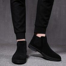 Botas de couro dos homens de moda de luxo macio slip on preto ferramental sapatos de camurça deserto bota chelsea preto militar tornozelo botines hombre