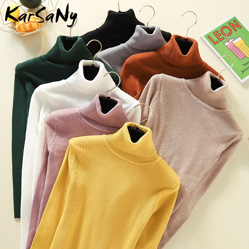 KarSaNy Autumn Winter Women Turtleneck Knit Sweater Long Sleeve Pullover Jumper Turtle Neck Women High Collar Sweater Turtleneck