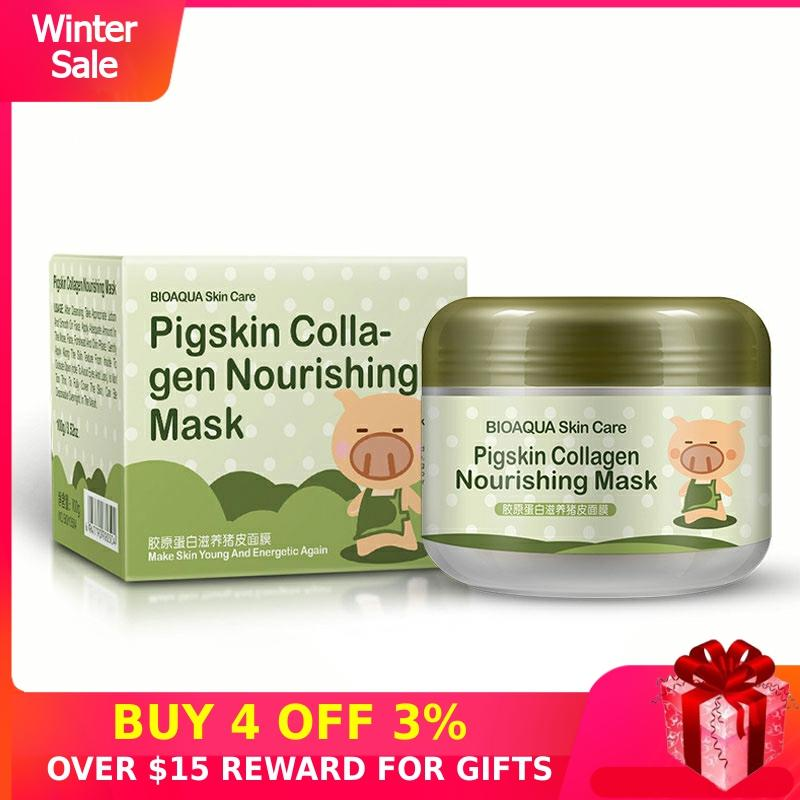 Bubble Mask Pigskin Oxygen Collagen Nourishing Skin Care Deep Cleaning Blackhead Acne Treatment Whitening Mud Face Masks Women P