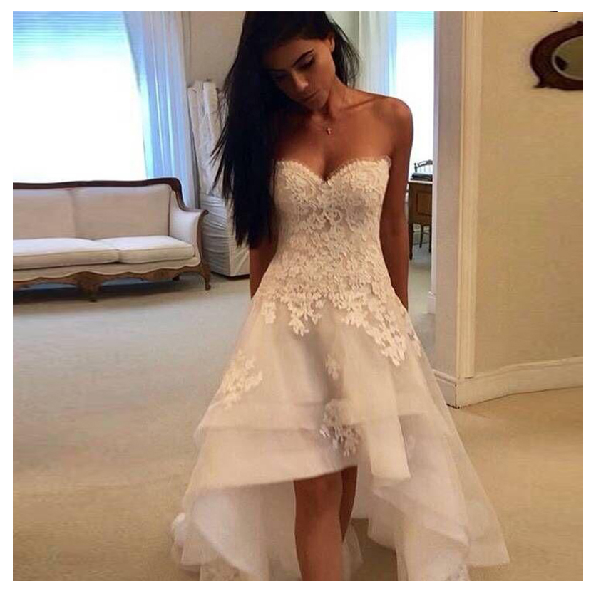 High/Low Wedding Dress Sweetheart Appliqued Lace Tulle Backless Boho Wedding Bride Gown Strapless Bride Dress Vestido De Noiva