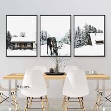 Рождественский настенный художественный холст Постер с зимним