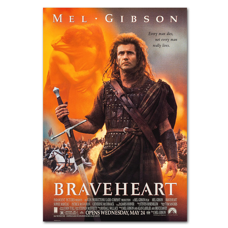 Classic Movie Braveheart Wall Poster 1995 Love Film Posters Historical Film Art Prints Bar Cafe Pub Room Decor Cloth Painting image
