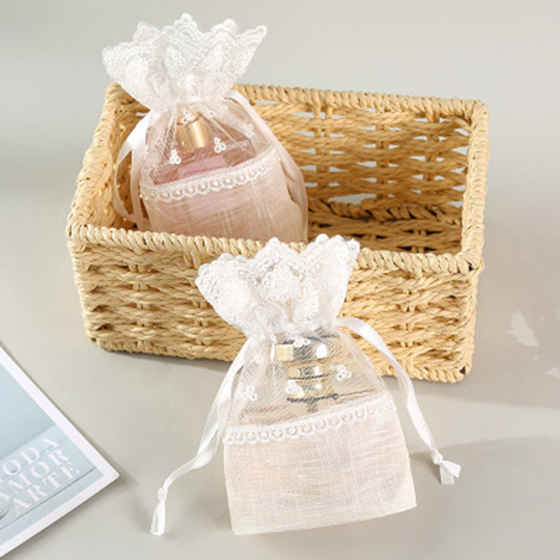 3 Pcs Lace Drawstring Gift Bag Pouches Multipurpose For Wedding Party Favor Jewelry Candy C55