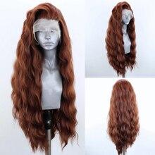 Харизма, длинные волнистые волосы, коричневые парики для чернокожих женщин, синтетический парик на сетке спереди, термостойкие волосы, пари...