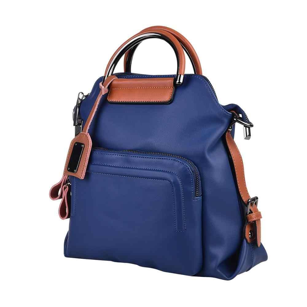 Anytek L25 parmak izi kilidi kadın sırt çantası kadın moda çanta inek derisi ve PU deri güvenli uygun büyük kapasiteli USB şarj