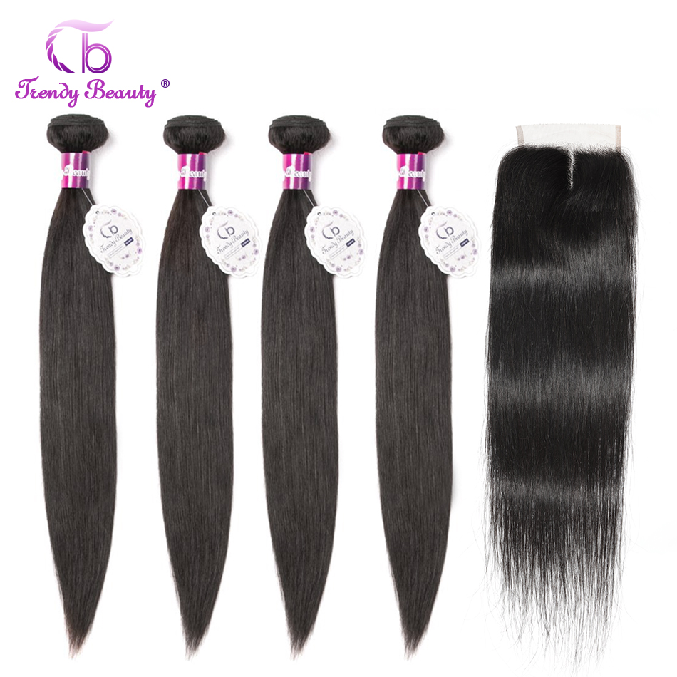 Hed67d1cbdc424e439b4de5098e49abfa8 Trendy Beauty Peruvian straight hair 4 bundles with closure 100% human hair bundles with baby hair closure Middle/Three/Free