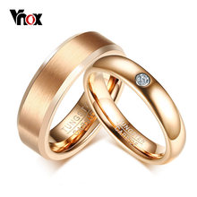 Vnox elegancki różowy złoty Tone obrączka ślubna dla kobiet mężczyzn PureTungsten Carbide obietnica obietnica miłość palec serdeczny