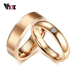 Vnox Elegant Pink Gold Tone Wedding Bands Ring for Women Men PureTungsten Carbide Engagement Promise Love Finger Ring