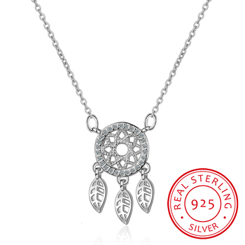 925 Silver Dream Catcher Feather Necklaces Pendants Inlaid Charming Rhinestones Fashion Dreamcatcher For Women Gift New image