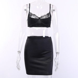Image 5 - NATTEMAID Sexy Lace Patchwork Two Piece Set  Top And Skirt Summer Women Set dress Elegant Club 2 Piece Set Women Outfit clothes
