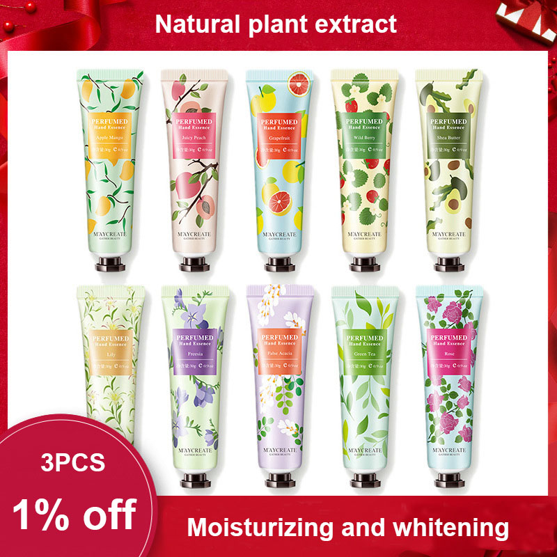 1PC moisturizing hand cream natural plant extract Fragrance green tea apple rose strawberry Hydrating Smooth hand care HF178