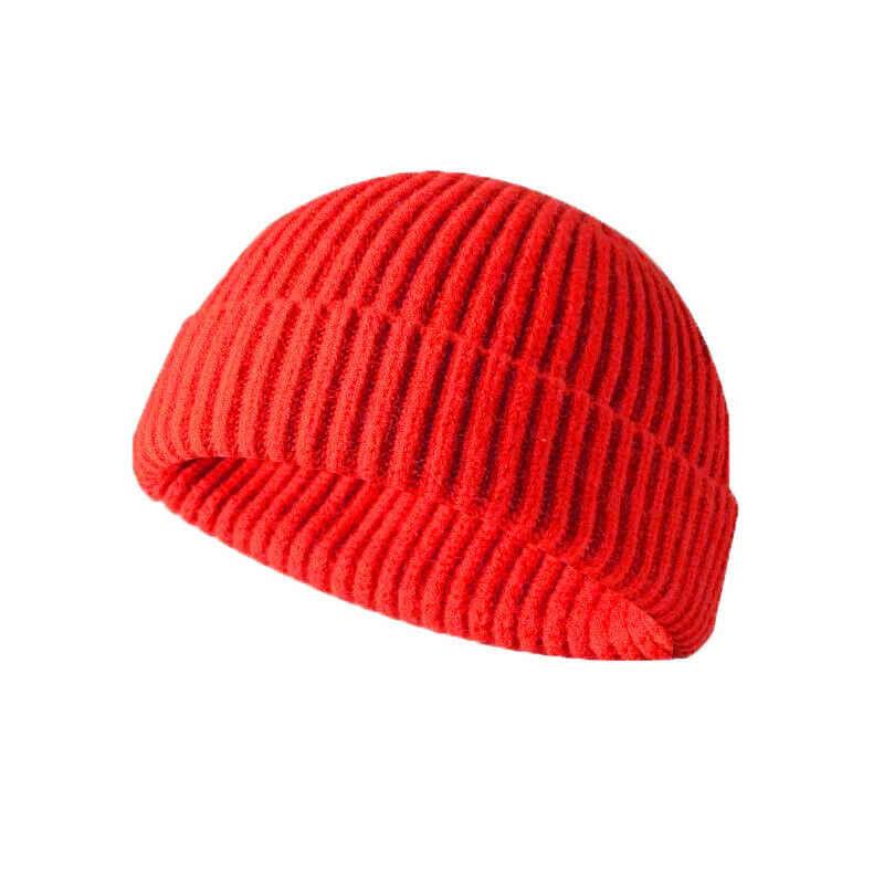 新しい男性女性の冬のニット帽子ビーニータツナミソウセーラーキャップカフ縁なしのレトロ帽子黒グレーピンク、赤、黄色