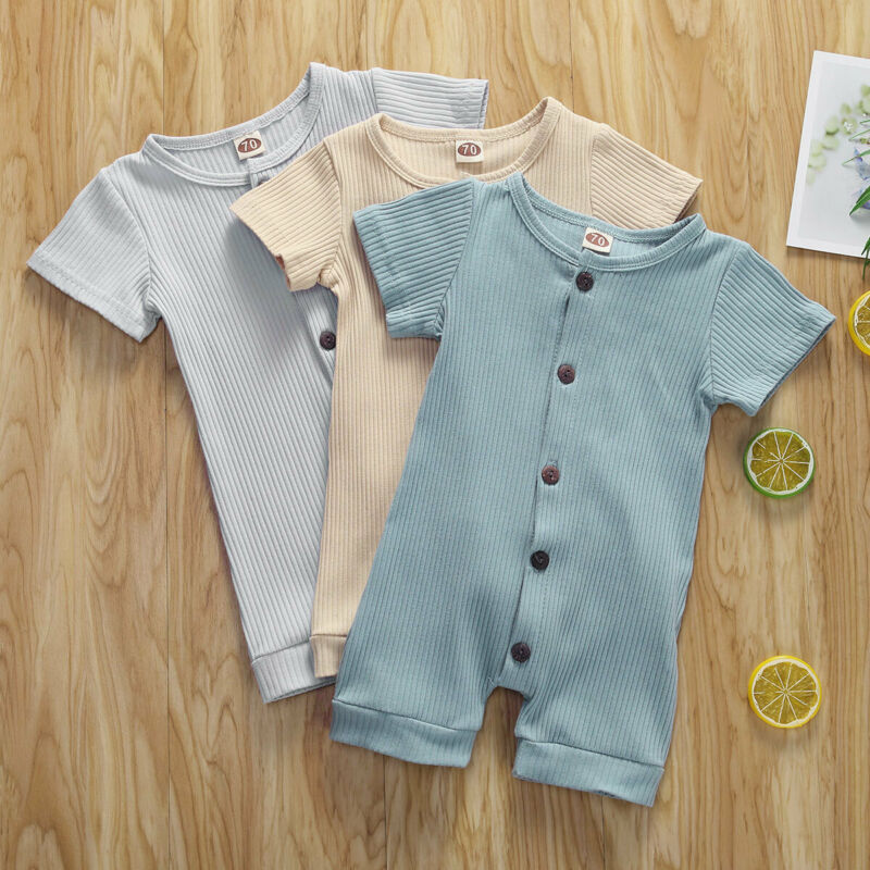 Toddler Infant Baby Boys Girls Solid Overalls Romper Jumpsuit Outfit Clothes Set