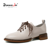 Ladies Shoes Donna-In Women Oxfords Sheepskin Lace-Up Square Low-Heel Round-Toe Casual