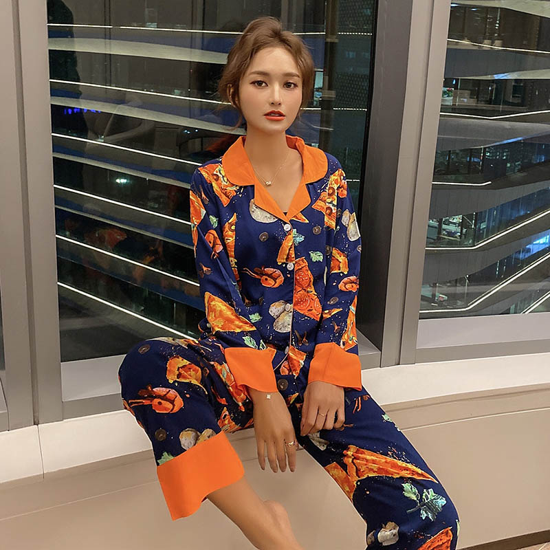 Women Pajamas Set Color Collision Pizza Printed Turn-down Collar Sleepwear Loose Thin Ladies Cotton Satin Homewear For Spring