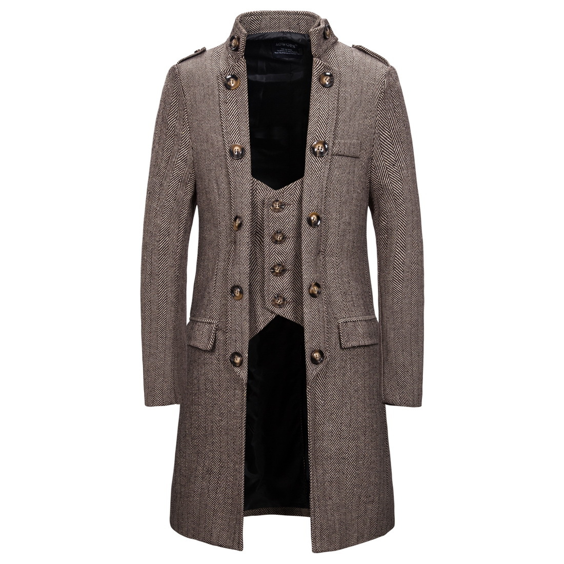 2019 New Men's Trench Coat Fake Two-piece Suit Outwear Winter Warm Long Trench Jacket Male Business Casual Overcoat Parka